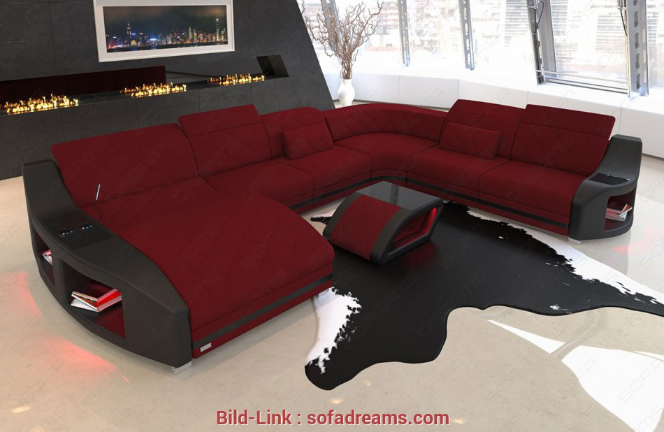 Designer Couch Modern sofa Swing, in fabric with cooling, holders in Mineva 10, dark red Designer Couch Perfekt Modern Sofa Swing, In Fabric With Cooling, Holders In Mineva 10, Dark Red