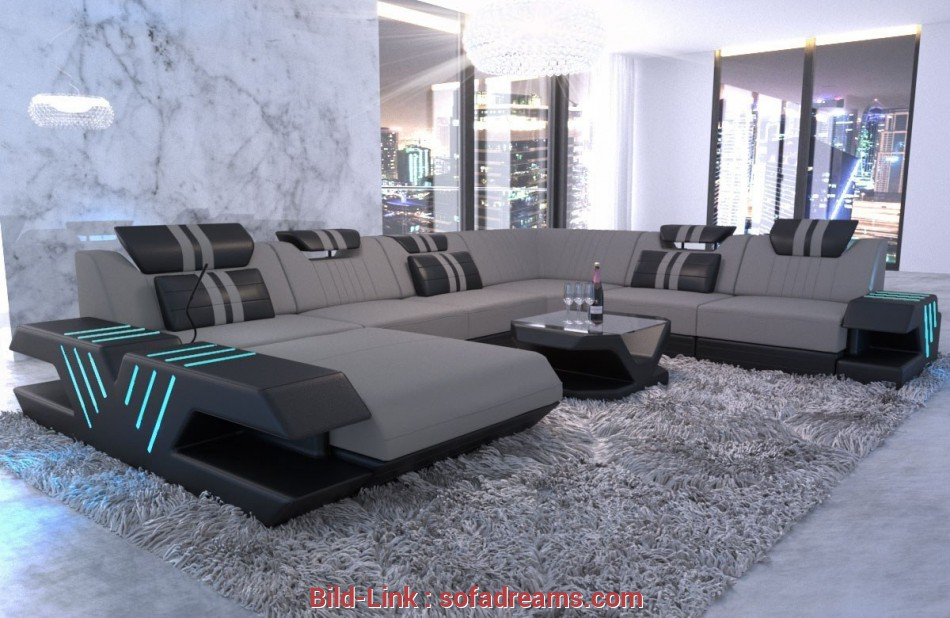 Sofa Xxl Fabric couch upholstered sofa Beverly Hills, microfibre light gray, Mineva 12 3 Tolle Sofa Xxl
